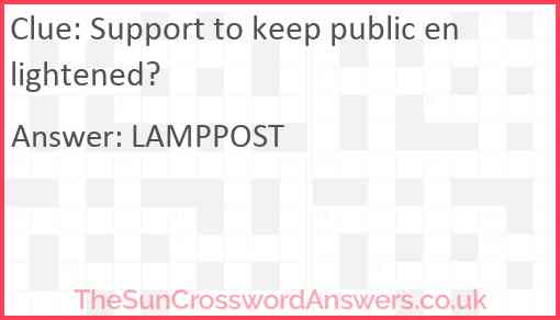 Support to keep public enlightened? Answer