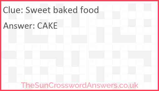 Sweet baked food Answer