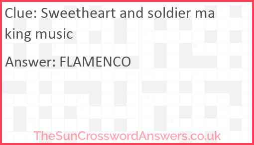 Sweetheart and soldier making music Answer