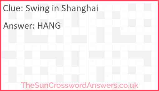 Swing in Shanghai Answer