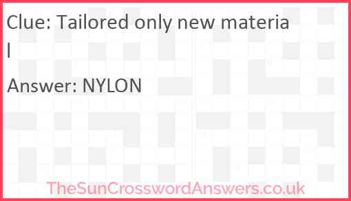 Tailored only new material Answer