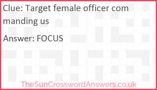 Target female officer commanding us Answer