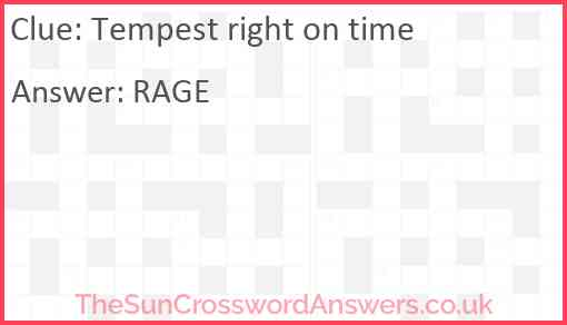 Tempest right on time Answer
