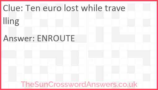 Ten euro lost while travelling Answer