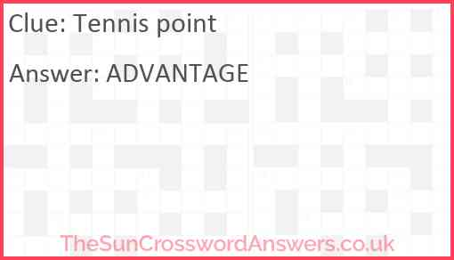 Tennis point Answer