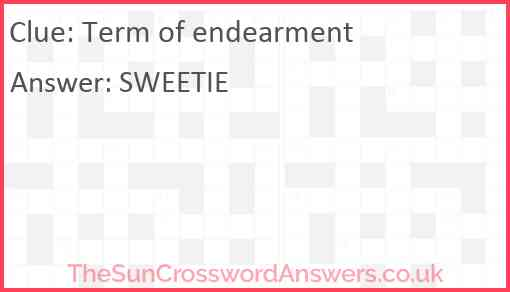 Term of endearment Answer