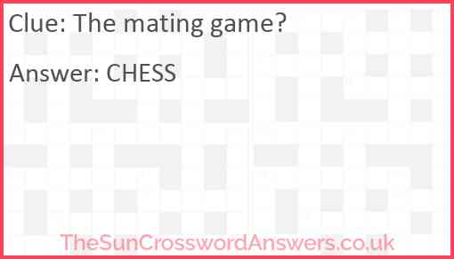 The mating game? Answer