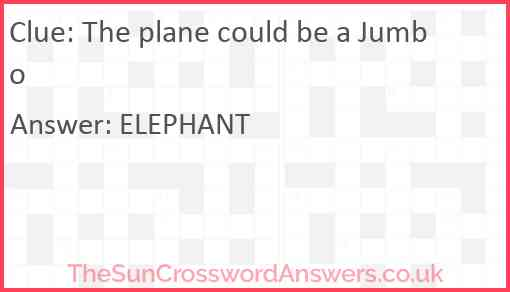 The plane could be a Jumbo Answer