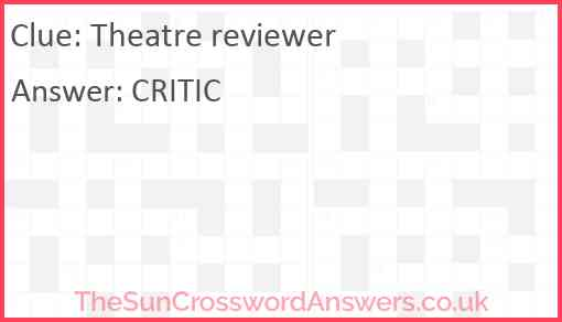 Theatre reviewer Answer