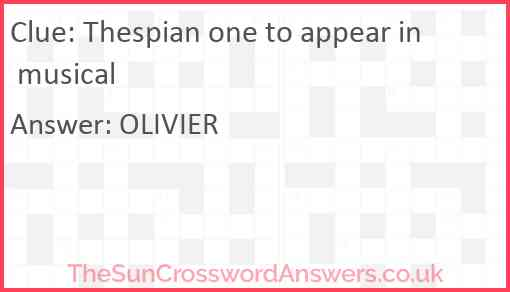 Thespian one to appear in musical Answer