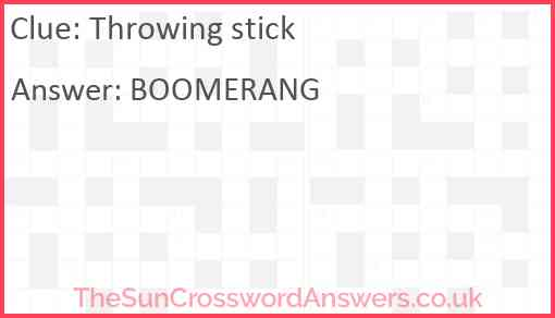 Throwing stick Answer
