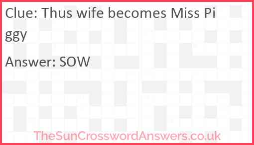 Thus wife becomes Miss Piggy Answer