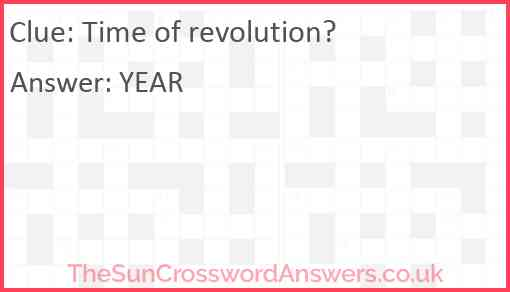 Time of revolution? Answer