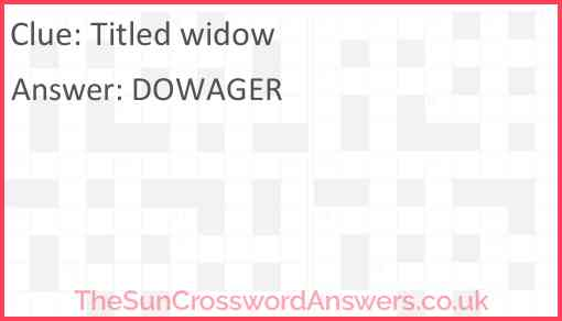 Titled widow Answer