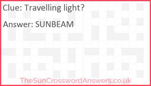 Travelling light? Answer