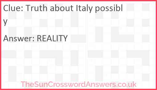 Truth about Italy possibly Answer