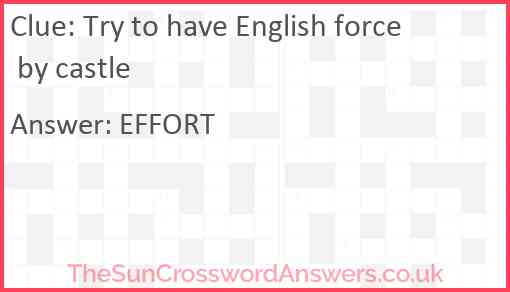 Try to have English force by castle Answer