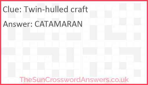 Twin-hulled craft Answer
