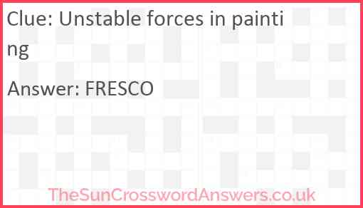 Unstable forces in painting Answer
