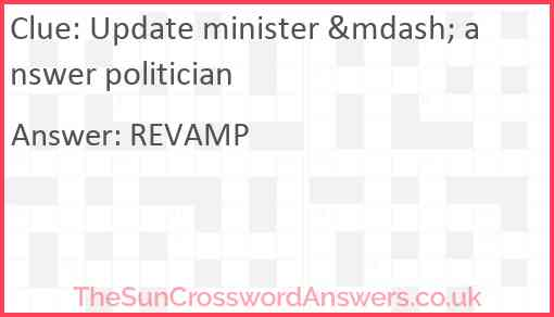 Update minister — answer politician Answer