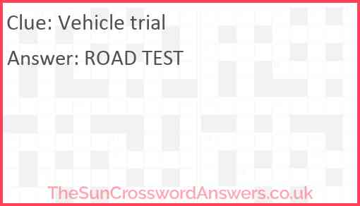Vehicle trial Answer