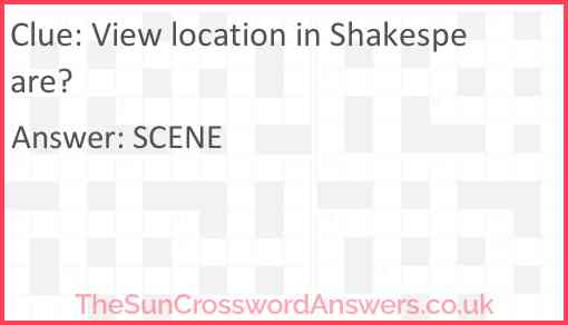 View location in Shakespeare? Answer