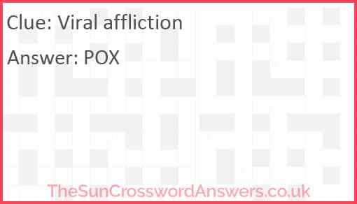 Viral affliction Answer