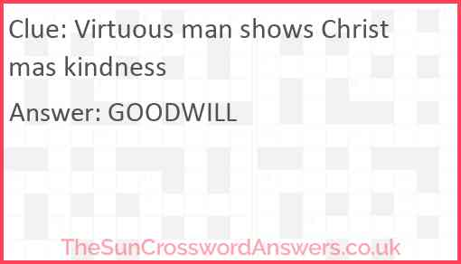 Virtuous man shows Christmas kindness Answer