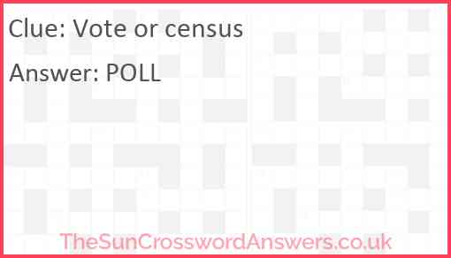 Vote or census Answer