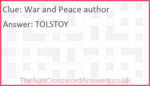 War and Peace author Answer