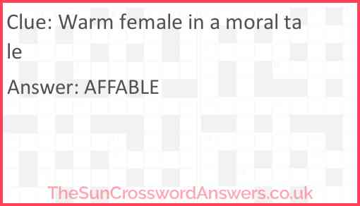 Warm female in a moral tale Answer