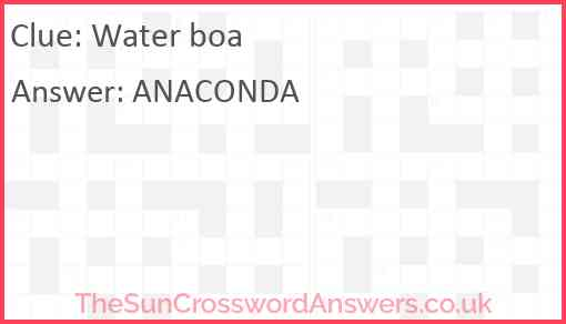 Water boa Answer