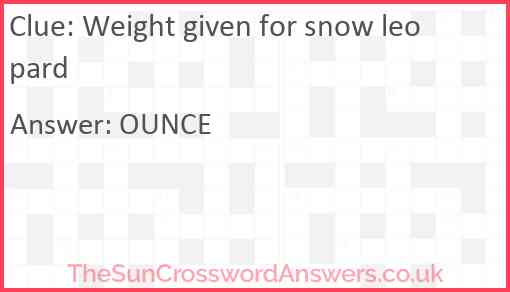 Weight given for snow leopard Answer