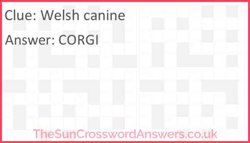 Welsh canine Answer