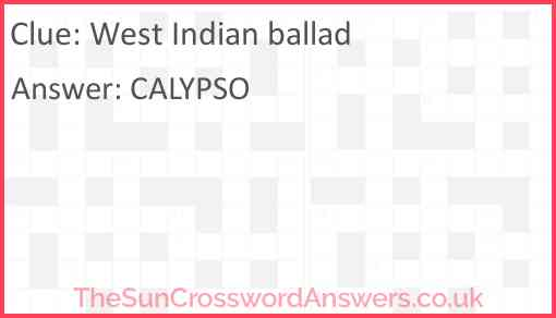 West Indian ballad Answer
