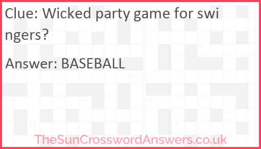 Wicked party game for swingers? Answer