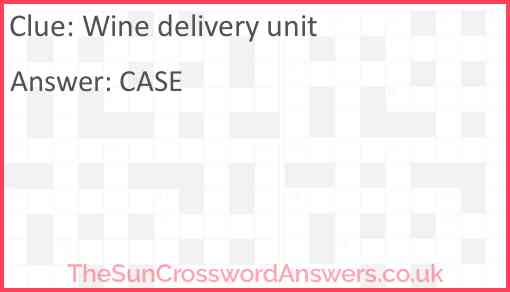 Wine delivery unit Answer