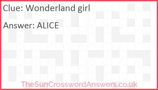 Wonderland girl Answer