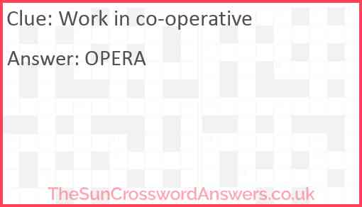 Work in co-operative Answer