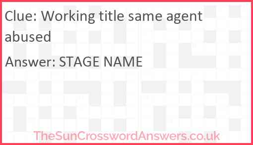 Working title same agent abused Answer