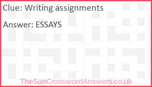 Writing assignments Answer