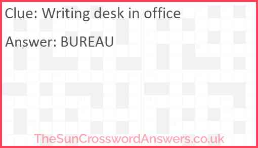 Writing desk in office Answer