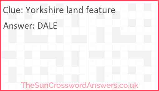 Yorkshire land feature Answer