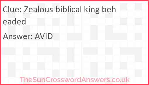 Zealous biblical king beheaded Answer